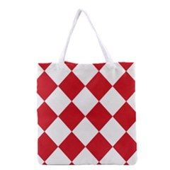 Harlequin Diamond Red White Grocery Tote Bag