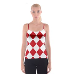 Harlequin Diamond Red White Spaghetti Strap Top