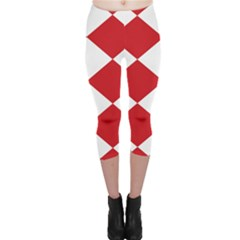 Harlequin Diamond Red White Capri Leggings
