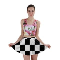 Checkered Flag Race Winner Mosaic Tile Pattern Mini Skirt