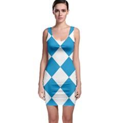 Harlequin Diamond Argyle Turquoise Blue White Bodycon Dress