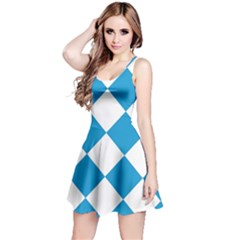 Harlequin Diamond Argyle Turquoise Blue White Sleeveless Dress