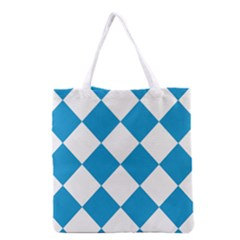 Harlequin Diamond Argyle Turquoise Blue White Grocery Tote Bag