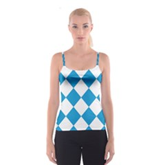 Harlequin Diamond Argyle Turquoise Blue White Spaghetti Strap Top