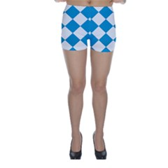 Harlequin Diamond Argyle Turquoise Blue White Skinny Shorts