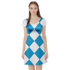 Harlequin Diamond Argyle Turquoise Blue White Short Sleeved Skater Dress