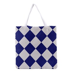 Harlequin Diamond Argyle Sports Team Colors Navy Blue Silver Grocery Tote Bag