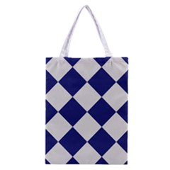 Harlequin Diamond Argyle Sports Team Colors Navy Blue Silver Classic Tote Bag