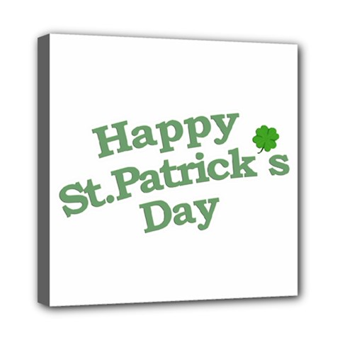 Happy St Patricks Text With Clover Graphic Mini Canvas 8  x 8  (Framed)