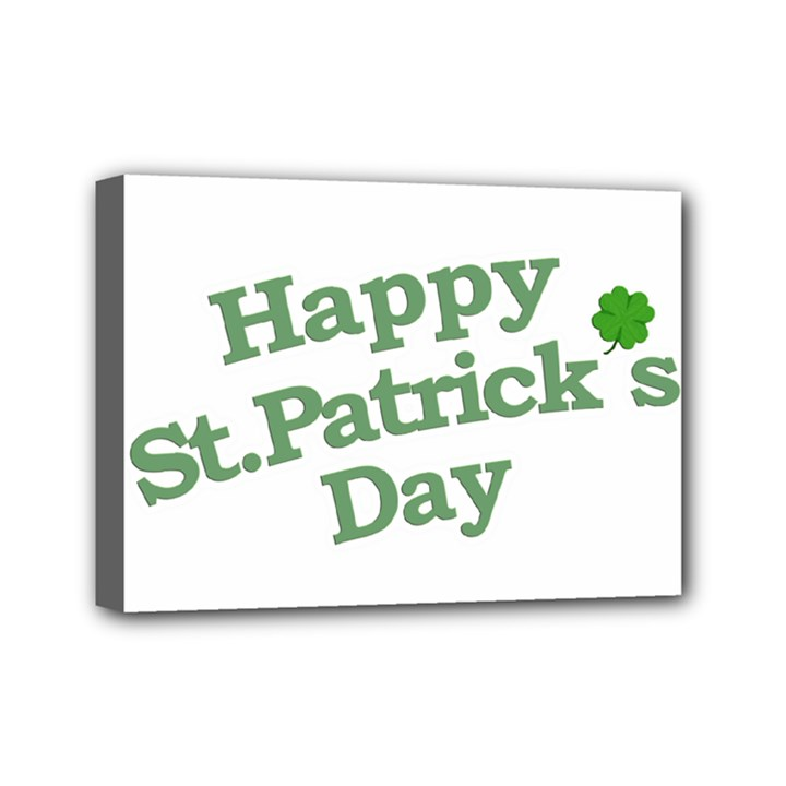 Happy St Patricks Text With Clover Graphic Mini Canvas 7  x 5  (Framed)