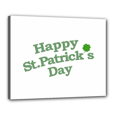 Happy St Patricks Text With Clover Graphic Canvas 20  X 16  (framed)