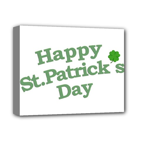 Happy St Patricks Text With Clover Graphic Deluxe Canvas 14  x 11  (Framed)