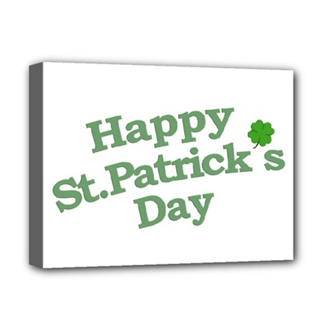 Happy St Patricks Text With Clover Graphic Deluxe Canvas 16  x 12  (Framed)