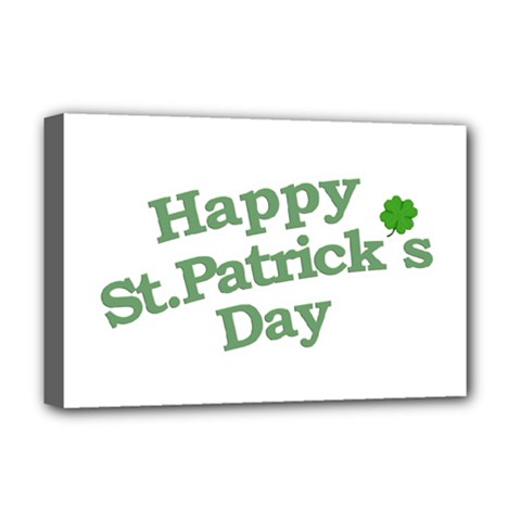Happy St Patricks Text With Clover Graphic Deluxe Canvas 18  x 12  (Framed)