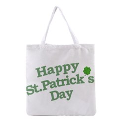 Happy St Patricks Text With Clover Graphic Grocery Tote Bag