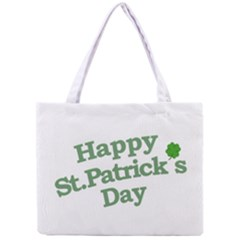 Happy St Patricks Text With Clover Graphic Tiny Tote Bag
