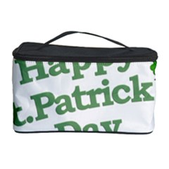 Happy St Patricks Text With Clover Graphic Cosmetic Storage Case