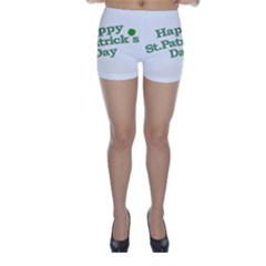 Happy St Patricks Text With Clover Graphic Skinny Shorts