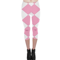Harlequin Diamond Pattern Pink White Capri Leggings