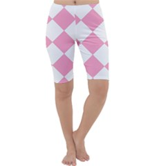 Harlequin Diamond Pattern Pink White Cropped Leggings