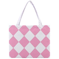 Harlequin Diamond Pattern Pink White Tiny Tote Bag