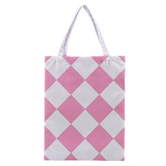 Harlequin Diamond Pattern Pink White Classic Tote Bag
