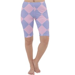 Harlequin Diamond Argyle Pastel Pink Blue Cropped Leggings