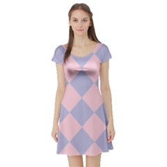 Harlequin Diamond Argyle Pastel Pink Blue Short Sleeved Skater Dress
