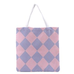 Harlequin Diamond Argyle Pastel Pink Blue Grocery Tote Bag