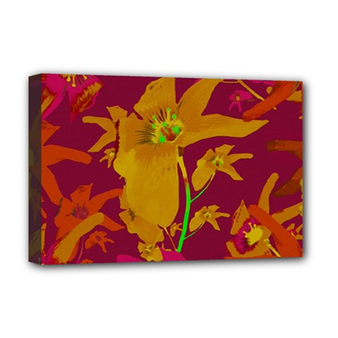 Tropical Hawaiian Style Lilies Collage Deluxe Canvas 18  X 12  (framed)