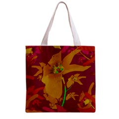 Tropical Hawaiian Style Lilies Collage Grocery Tote Bag