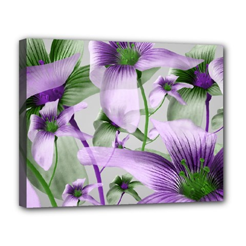 Lilies Collage Art in Green and Violet Colors Canvas 14  x 11  (Framed)