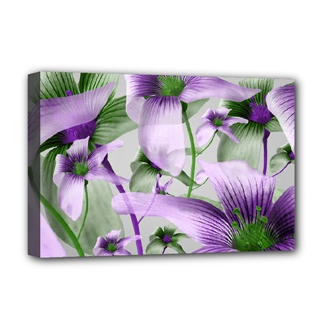 Lilies Collage Art In Green And Violet Colors Deluxe Canvas 18  X 12  (framed)