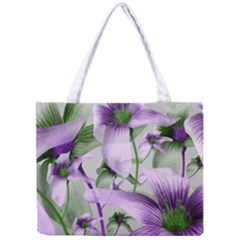 Lilies Collage Art In Green And Violet Colors Tiny Tote Bag