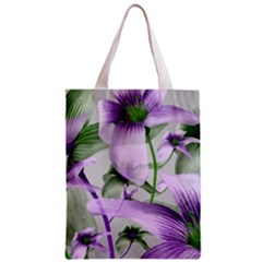 Lilies Collage Art in Green and Violet Colors Classic Tote Bag
