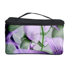 Lilies Collage Art In Green And Violet Colors Cosmetic Storage Case