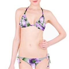 Lilies Collage Art In Green And Violet Colors Bikini Bikini