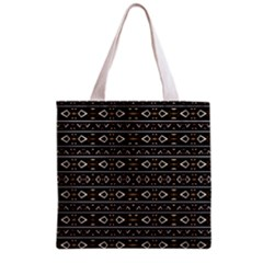 Tribal Dark Geometric Pattern03 Grocery Tote Bag
