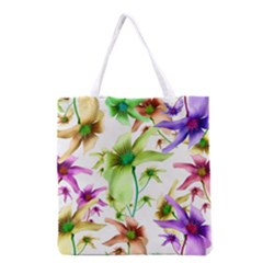 Multicolored Floral Print Pattern Grocery Tote Bag