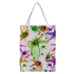 Multicolored Floral Print Pattern Classic Tote Bag