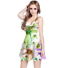 Multicolored Floral Print Pattern Sleeveless Dress