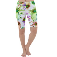 Multicolored Floral Print Pattern Cropped Leggings