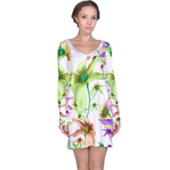 Multicolored Floral Print Pattern Long Sleeve Nightdress