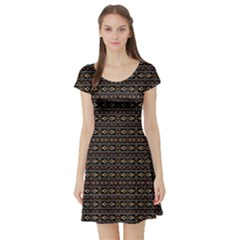 Tribal Dark Geometric Pattern03 Short Sleeved Skater Dress