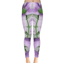 Lilies Collage Art in Green and Violet Colors Leggings