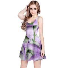 Lilies Collage Art in Green and Violet Colors Sleeveless Dress
