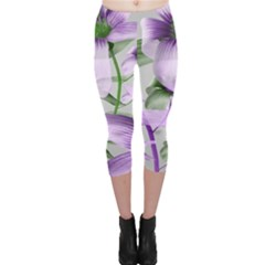 Lilies Collage Art In Green And Violet Colors Capri Leggings