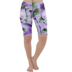 Lilies Collage Art In Green And Violet Colors Cropped Leggings