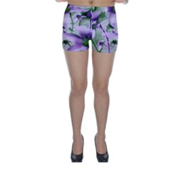 Lilies Collage Art In Green And Violet Colors Skinny Shorts