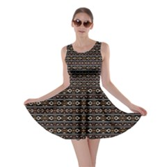 Tribal Dark Geometric Pattern03 Skater Dress